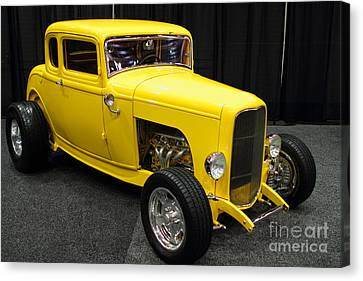 1932 Ford 5 Window Coupe . Yellow . 7d9275 Canvas Print by Wingsdomain Art and Photography