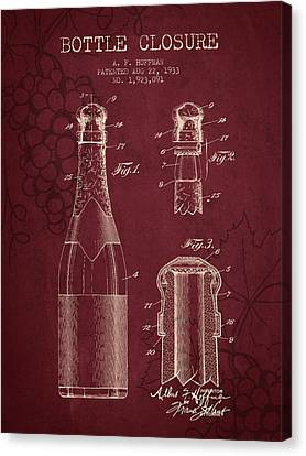 1933 Bottle Closure Patent - Red Wine Canvas Print by Aged Pixel