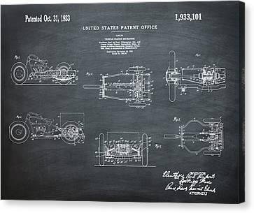 1933 Indian Motor Tricycle Patent Chalk Canvas Print by Bill Cannon