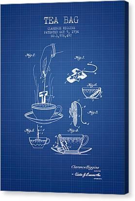 1934 Tea Bag Patent - Blueprint Canvas Print by Aged Pixel