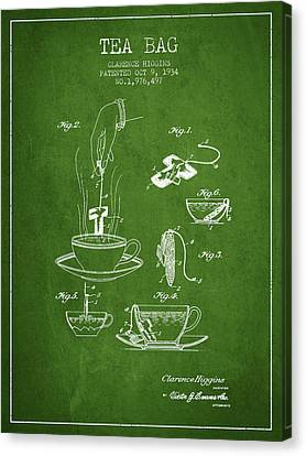 1934 Tea Bag Patent - Green Canvas Print by Aged Pixel