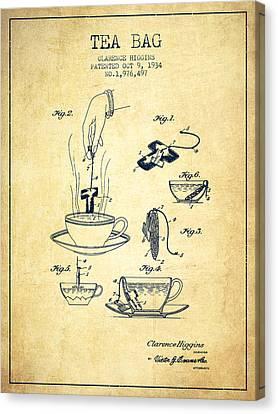 1934 Tea Bag Patent - Vintage Canvas Print by Aged Pixel