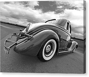 1935 Ford Coupe In Black And White Canvas Print by Gill Billington