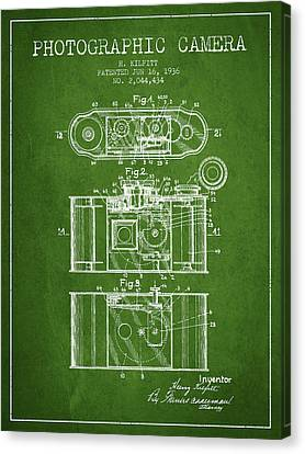 1936 Photographic Camera Patent - Green Canvas Print by Aged Pixel