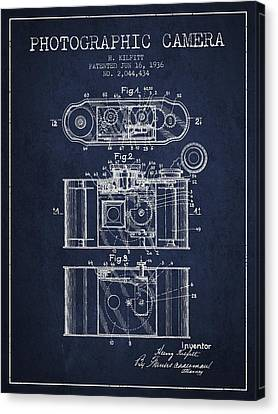1936 Photographic Camera Patent - Navy Blue Canvas Print by Aged Pixel
