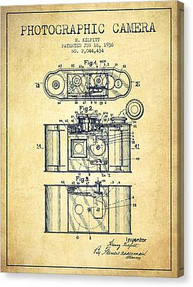 1936 Photographic Camera Patent - Vintage Canvas Print by Aged Pixel