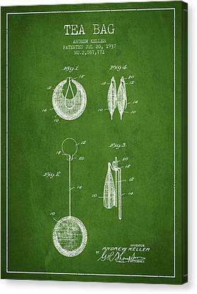 1937 Tea Bag Patent 02 - Green Canvas Print by Aged Pixel