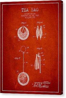 1937 Tea Bag Patent 02 - Red Canvas Print by Aged Pixel