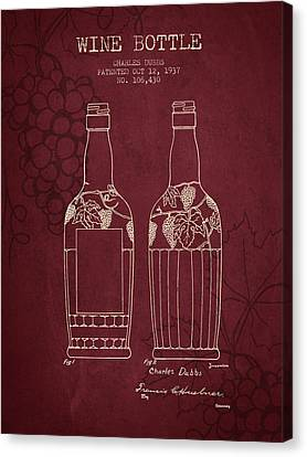 1937 Wine Bottle Patent - Red Wine Canvas Print by Aged Pixel