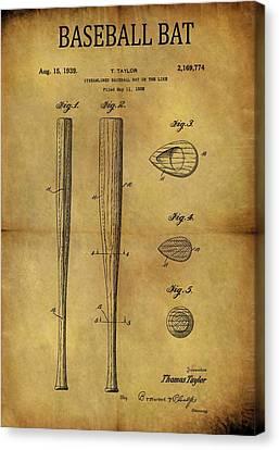 1939 Baseball Bat Patent Canvas Print by Dan Sproul