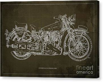 1939 Brough Superior Ss100 Blueprint Brown Background Canvas Print by Pablo Franchi