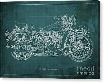1939 Brough Superior Ss100 Blueprint Green Background Canvas Print by Pablo Franchi