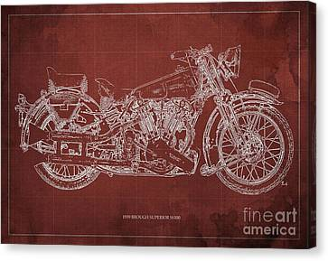 1939 Brough Superior Ss100 Blueprint Red Background Canvas Print by Pablo Franchi