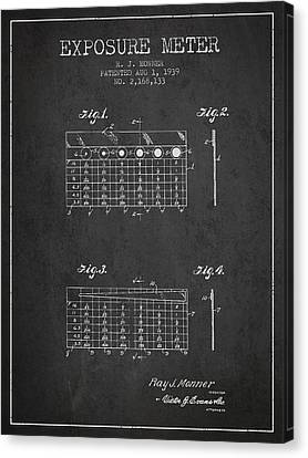 1939 Exposure Meter Patent - Charcoal Canvas Print by Aged Pixel