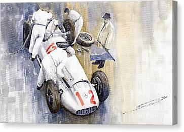 1939 German Gp Mb W154 Rudolf Caracciola Winner Canvas Print by Yuriy  Shevchuk