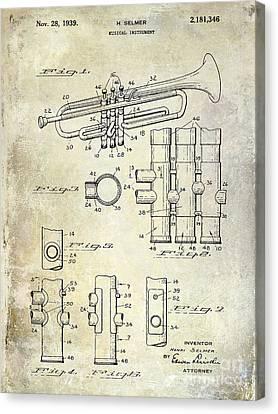 1939 Trumpet Patent Canvas Print by Jon Neidert