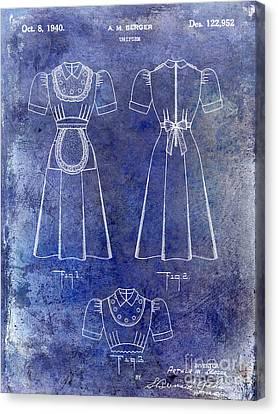 1940 Waitress Uniform Patent Blue Canvas Print by Jon Neidert