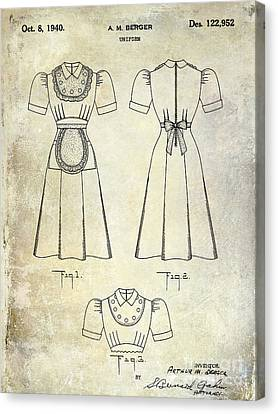 1940 Waitress Uniform Patent Canvas Print by Jon Neidert