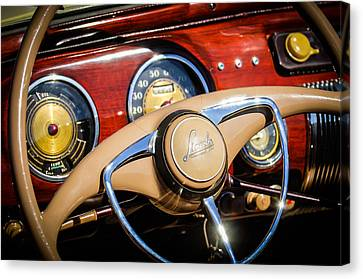 1941 Lincoln Continental Cabriolet V12 Steering Wheel Canvas Print by Jill Reger