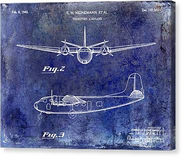 1946 Airplane Patent Blue Canvas Print by Jon Neidert