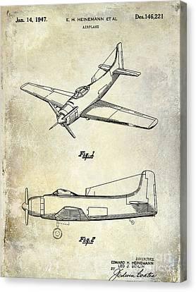 1947 Airplane Patent Canvas Print by Jon Neidert