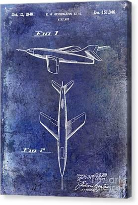 1947 Jet Airplane Patent Blue Canvas Print by Jon Neidert