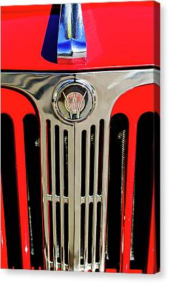 1949 Willys Jeepster Hood Ornament And Grille Canvas Print by Jill Reger