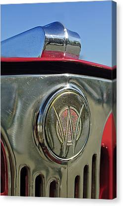 1949 Willys Jeepster Hood Ornament Canvas Print by Jill Reger