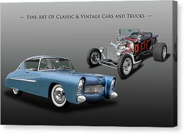 1950 Ultra Modern Merc And 1923 T-bucket Roadster  -  50merc23tbuck9971 Canvas Print by Frank J Benz