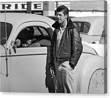 1950s Teenager With A Hot Rod Canvas Print by Underwood Archives