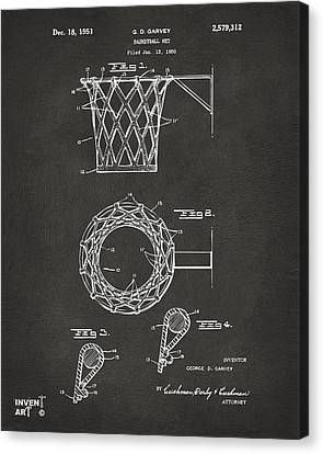 1951 Basketball Net Patent Artwork - Gray Canvas Print by Nikki Marie Smith
