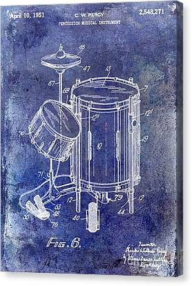 1951 Drum Kit Patent Blue Canvas Print by Jon Neidert