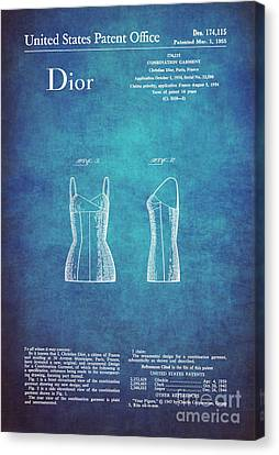 1955 Dior Combination Garment Design 1 Canvas Print by Nishanth Gopinathan