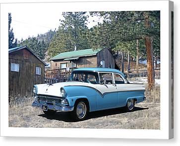 1955 Ford Custom Fairlane Canvas Print by Jack Pumphrey