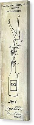 1956 Bottle Stopper Patent Canvas Print by Jon Neidert