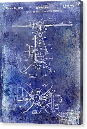 1956 Helicopter Patent Blue Canvas Print by Jon Neidert