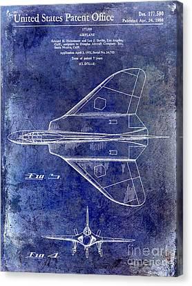 1956 Jet Airplane Patent Blue Canvas Print by Jon Neidert