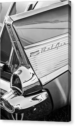1957 Chevrolet Bel Air Tail Light Emblem -0140bw Canvas Print by Jill Reger