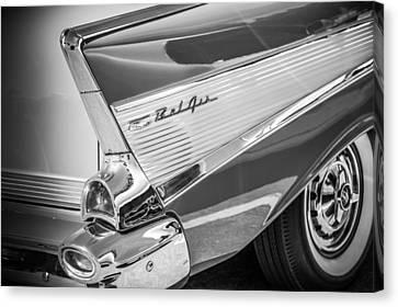 1957 Chevrolet Bel Air Tail Light Emblem -1010bw Canvas Print by Jill Reger
