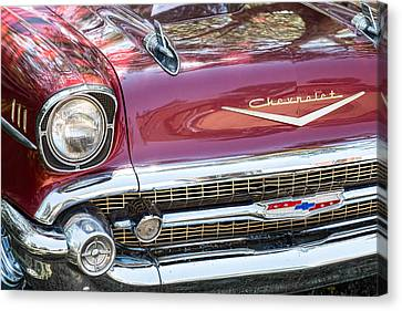 1957 Chevrolet Burgundy Bel Air Front Chrome Canvas Print by James BO  Insogna