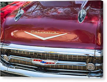 1957 Chevrolet Burgundy Bel Air Front Close-up Canvas Print by James BO  Insogna