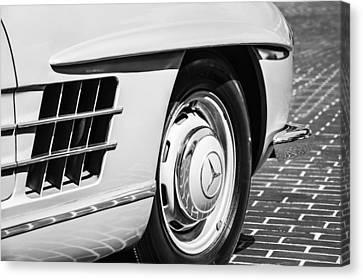 1957 Mercedes-benz 300 Sl Roadster Wheel Emblem -0121bw Canvas Print by Jill Reger