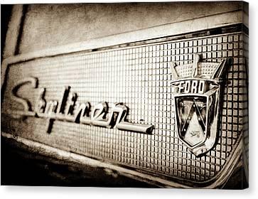1958 Ford Fairlane Skyliner Hardtop Convertible Emblem -0437s Canvas Print by Jill Reger