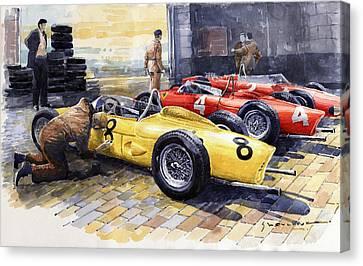 1961 Spa-francorchamps Ferrari Garage Ferrari 156 Sharknose  Canvas Print by Yuriy Shevchuk