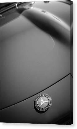 1962 Mercedes-benz 300sl Roadster Emblem -0384bw Canvas Print by Jill Reger