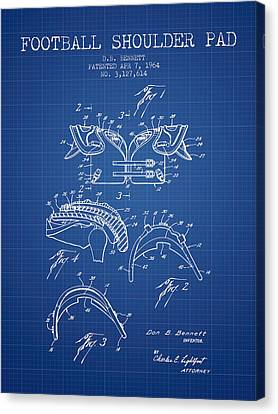 1964 Football Shoulder Pad Patent - Blueprint Canvas Print by Aged Pixel