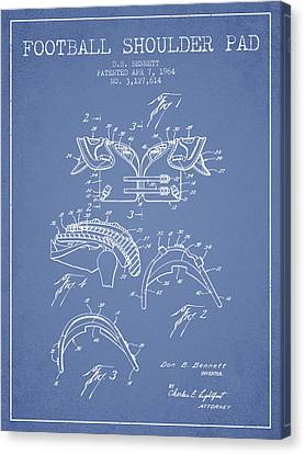 1964 Football Shoulder Pad Patent - Light Blue Canvas Print by Aged Pixel