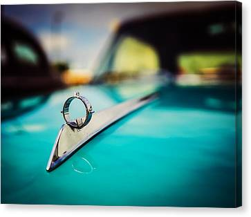 1964 Ford Galaxie 500 Xl Hood Ornament Canvas Print by Jon Woodhams