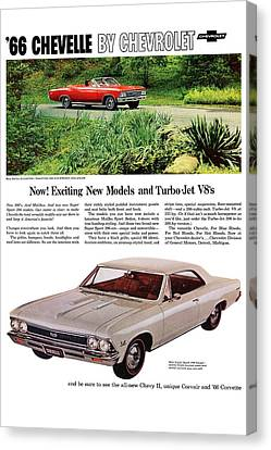 1966 Chevrolet Chevelle Turbo-jet V8's Canvas Print by Digital Repro Depot
