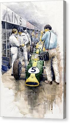 1967 Lotus 49t Ford Coswoorth Jim Clark Graham Hill Canvas Print by Yuriy Shevchuk